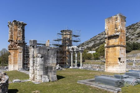 Ruins of Basilica in the archeological area of ancient Philippi, Eastern Macedonia and Thrace, Greece 스톡 콘텐츠 - 132925167