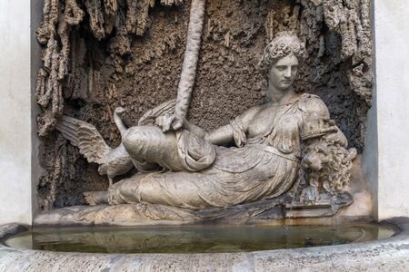 ROME, ITALY - JUNE 24, 2017: Architectural detail from Crossing of Quattro Fontane in city of Rome, Italy Editorial