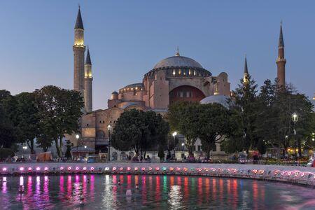 ISTANBUL, TURKEY - JULY 26, 2019: Night photo of Hagia Sophia Museum in city of Istanbul, Turkey
