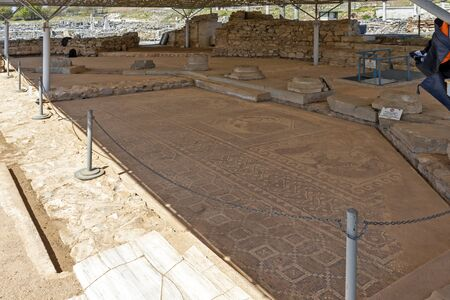 Ruins of octagon church in archaeological site of Philippi, Eastern Macedonia and Thrace, Greece