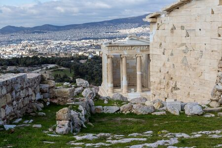 Ruins of Monumental gateway Propylaea in the Acropolis of Athens, Attica, Greece