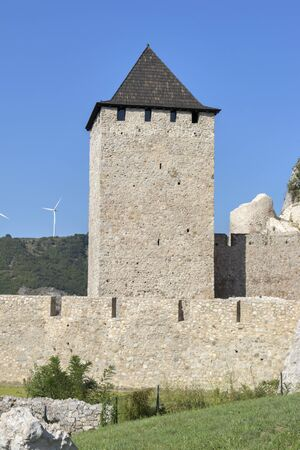 Ruins of Golubac Fortress - medieval fortified town at the Danube River, Serbia