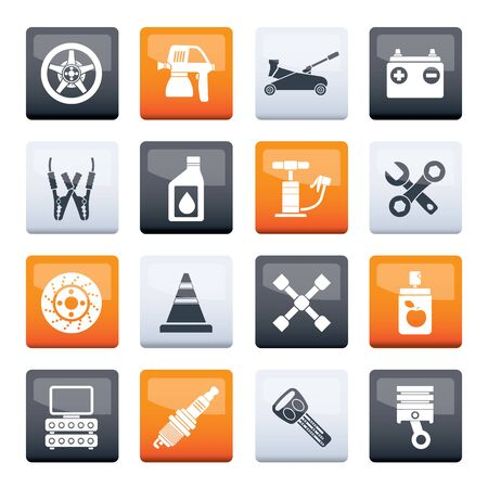 Stylized Transportation and car repair icons over color background - vector icon set