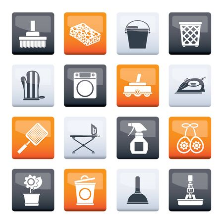 Stylized Household objects and tools icons over color background - vector icon set 일러스트