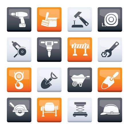 Stylized building and construction icons over color background - vector icon set Çizim