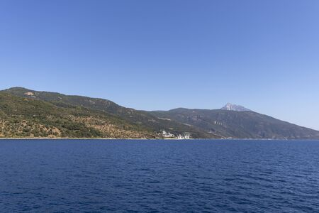 Panorama of Mount Athos in Autonomous Monastic State of the Holy Mountain, Chalkidiki, Greece