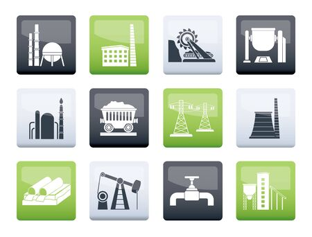 Heavy industry icons over color background - vector icon set