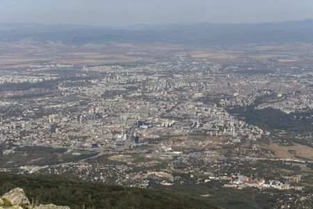 Amazing panorama of city of Sofia from Kamen Del Peak at Vitosha Mountain, Bulgaria