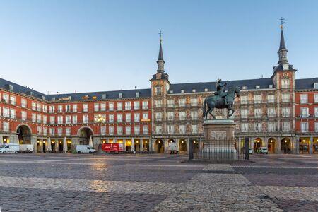 MADRID, SPAIN - JANUARY 22, 2018: Amazing Sunrise panorama of Plaza Mayor with statue of King Philips III in Madrid, Spain