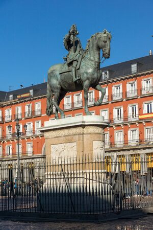 MADRID, SPAIN - JANUARY 22, 2018: Morning view of Plaza Mayor in city of Madrid, Spain