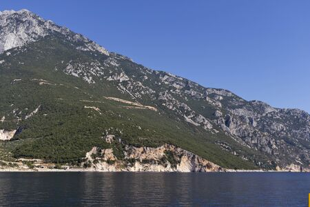 Landscape of Mount Athos in Autonomous Monastic State of the Holy Mountain, Chalkidiki, Greece