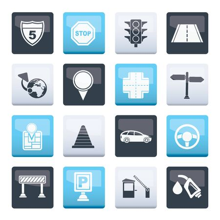 Traffic, road and travel icons over color background - vector icon set