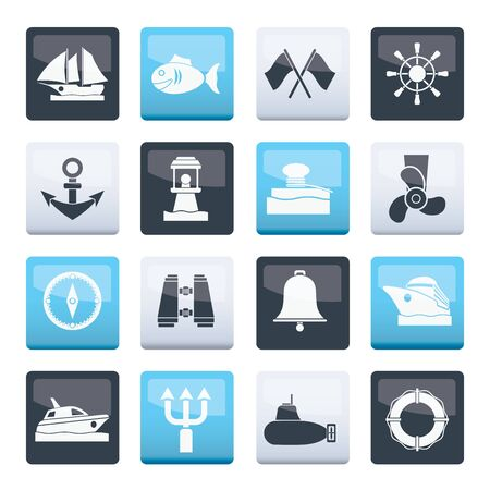 Marine, sea and nautical icons over color background - vector icon set