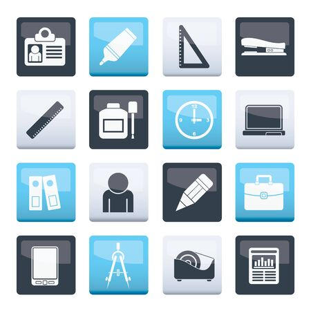 Business and office objects icons over color background - vector icon set