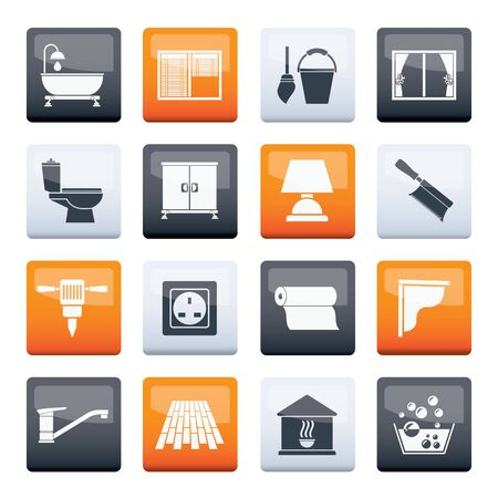 Construction and building equipment Icons over color background - vector icon set 2