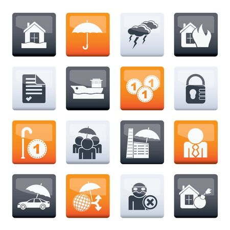 Insurance and risk icons over color background - vector icon set Vectores