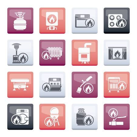 Household Gas Appliances icons over color background - vector icon set