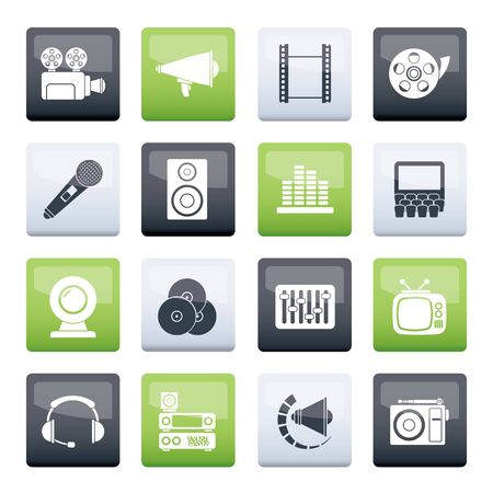 Audio and video icons over color background - vector icon set Çizim