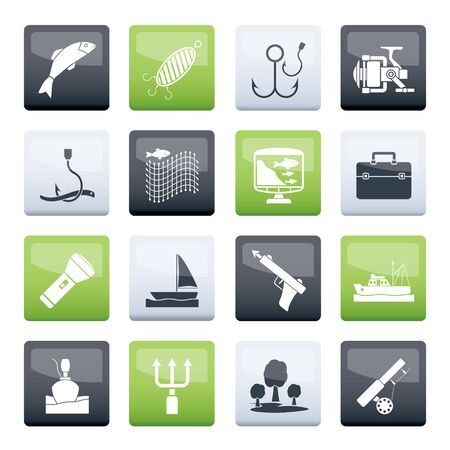 Fishing industry icons over color background - vector icon set Illustration