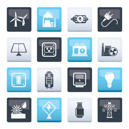 electricity, power and energy icons over color background - vector icon set Illustration