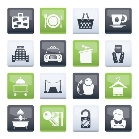 Hotel and motel services icons over color background - vector icon set 向量圖像
