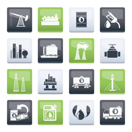 Petrol and oil industry icons over color background - vector icon set