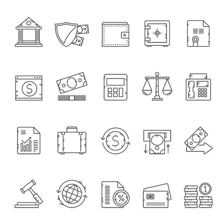 Line Bank, Business and Finance icons - vector icon set