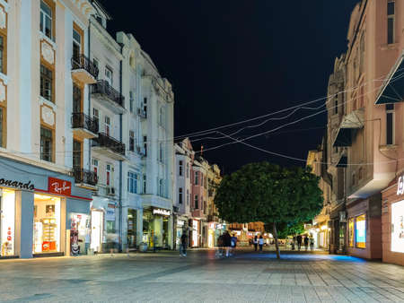 PLOVDIV, BULGARIA - MAY 18, 2020: Night view of central pedestrian street Knyaz Alexander I in city of Plovdiv, Bulgaria