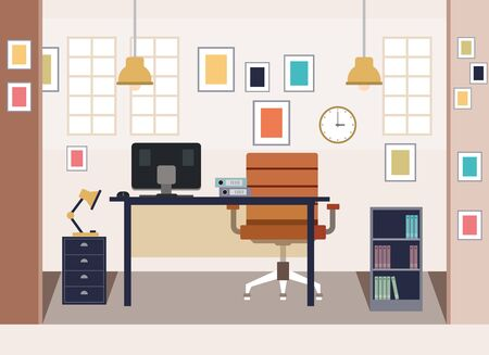 Flat design modern home office - vector illustration