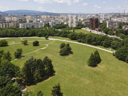 Aerial view of city of Sofia near South Park, Bulgaria