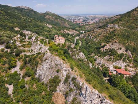 Aerial view of ruins of Medieval Asen's Fortress, Asenovgrad, Plovdiv Region, Bulgaria 写真素材