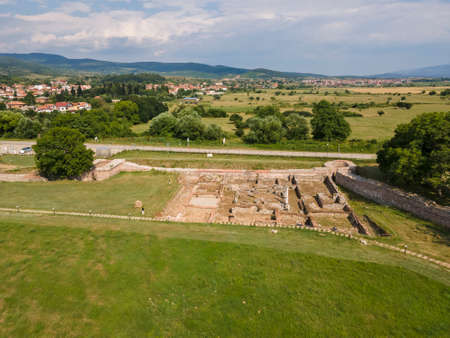 Aerial view of ruins of ancient Roman city Nicopolis ad Nestum near town of Garmen, Blagoevgrad Region, Bulgaria