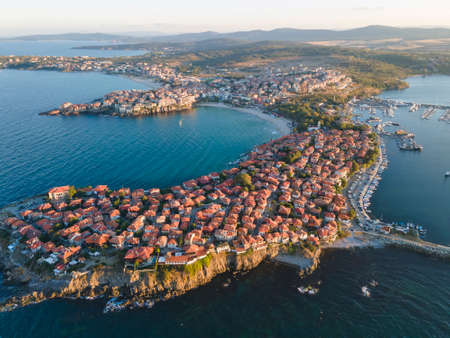 Aerial sunset view of old town of Sozopol, Burgas Region, Bulgaria
