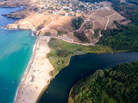 Aerial view of beach at the mouth of the Veleka River, Sinemorets village, Burgas Region, Bulgaria