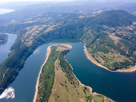 Amazing Aerial view of Arda River meander and Kardzhali Reservoir, Bulgaria
