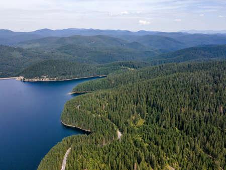 Aerial view of Golyam Beglik Reservoir, Pazardzhik Region, Bulgaria