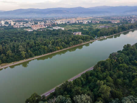 Aerial sunset panorama of Rowing Venue in city of Plovdiv, Bulgaria