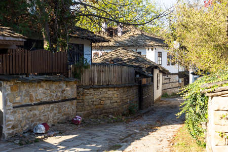 LOVECH, BULGARIA - NOVEMBER 8, 2020: Old Houses from the nineteenth century in The Old town of Lovech, know as Varosha, Bulgaria