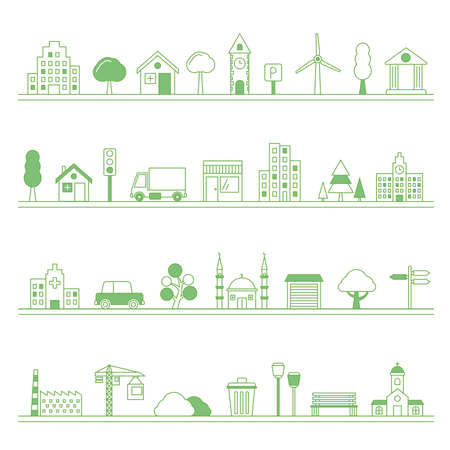 Typical city building and elements - vector illustration Vetores