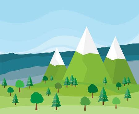 Flat design style landscape with highest peaks - vector illustration
