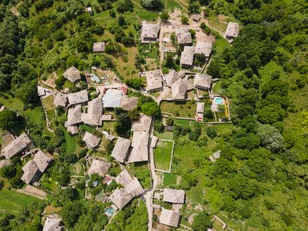 Aerial view of Village of Kovachevitsa with Authentic nineteenth century houses, Blagoevgrad Region, Bulgaria 写真素材