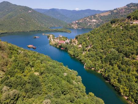 Aerial view of Vacha (Antonivanovtsi) Reservoir, Rhodope Mountains, Plovdiv Region, Bulgaria