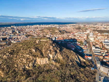 Aerial view of Dzhendem tepe hill and panorama to City of Plovdiv, Bulgaria