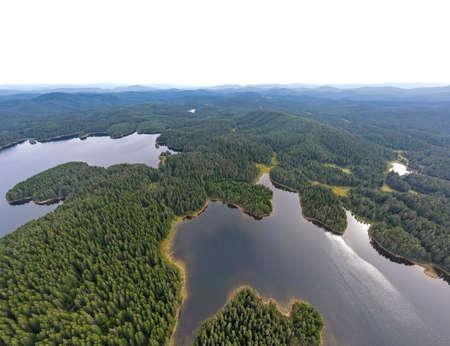 Aerial panorama of Shiroka polyana (Wide meadow) Reservoir, Pazardzhik Region, Bulgaria