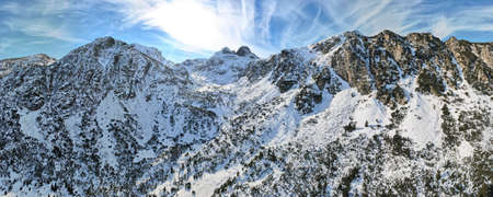 Aerial winter panorama of Malyovitsa peak, Rila Mountain, Bulgaria