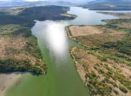 Amazing Aerial panorama of Pchelina Reservoir, Pernik Region, Bulgaria