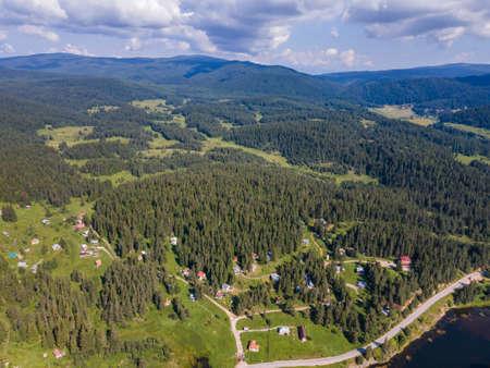 Aerial Summer view of Beglika Reservoir, Pazardzhik Region, Bulgaria
