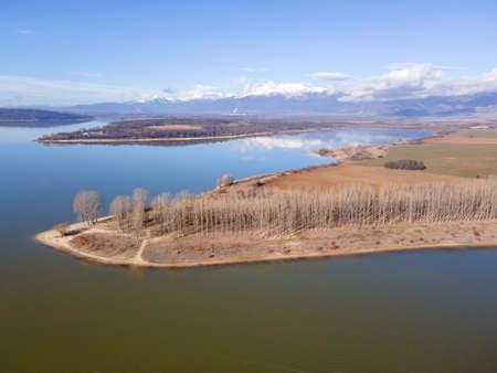 Aerial view of Koprinka Reservoir, Stara Zagora Region, Bulgaria