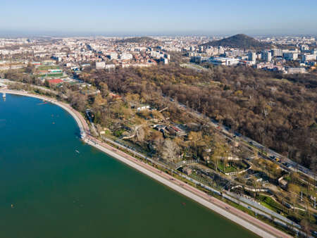 Amazing Aerial view of Rowing Venue in city of Plovdiv, Bulgaria