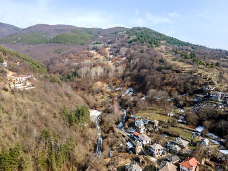 Aerial view of Village of Kosovo with Authentic nineteenth century houses, Plovdiv Region, Bulgaria